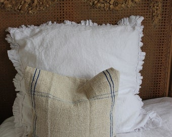Linen Euro Sham with Raw Edged Mini Ruffle Cream