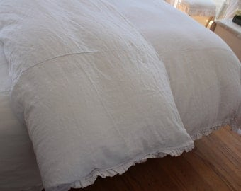 """Queen Duvet Cover White Linen with 2"""" Raw Edged Ruffle"""