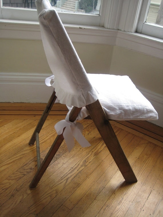 wooden folding chair with white linen top and by maisondemichele. Black Bedroom Furniture Sets. Home Design Ideas