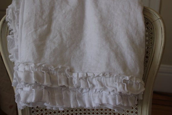 "Queen Coverlet White Linen with 2"" Raw Edged Ruffle"