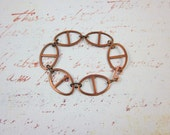 Vintage chunky copper chain bracelet oval loops copper clasp upcycled steampunk mix and match 10% off three