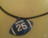 football necklace personalized with the color of your choice