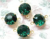 Set of Four Emerald Green 11mm Round Czech Glass Jewels in Connector Settings