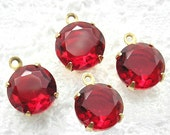 Set of Four Ruby Red 11mm Round Czech Glass Jewel Charms