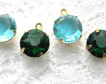 Set of Four 11mm Round Czech Glass Jewel Charms - Emerald and Aquamarine