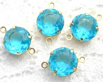 Set of Four Aquamarine 11mm Round Czech Glass Jewels in Connector Settings