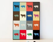 COW PIG Animal Multi Colour Poster