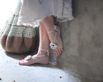 White Crochet Barefoot boho Sandals flower with beads gift idea for her mom girl