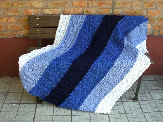 Hand knitted blanket afghan blue deep teal white stripes - Free shipping worldwide