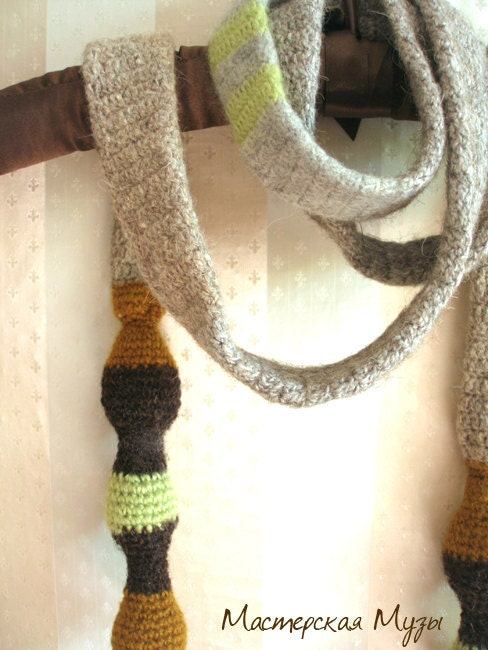 Crochet scarf tie for men women vintage inspired  Ready to ship  Crochet Scarves For Men