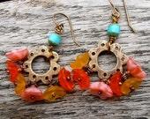 handmade beaded earrings, yellow orange pink beaded earrings, bronze flower earrings
