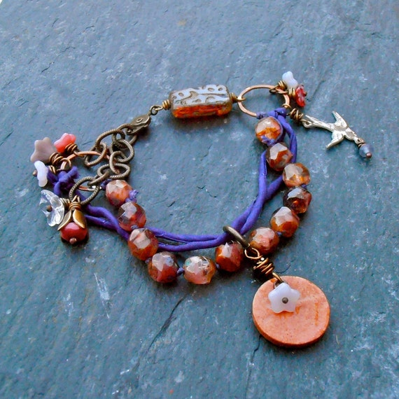 Wisteria Lane - handmade beaded bracelet with hand dyed purple silk, pink Czech glass beads and handmade clay charm.