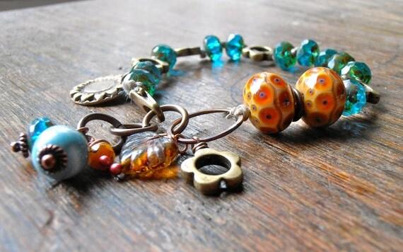 turquoise handmade bracelet, handmade beaded bracelet, aquamarine and amber bracelet, lampwork beaded bracelet
