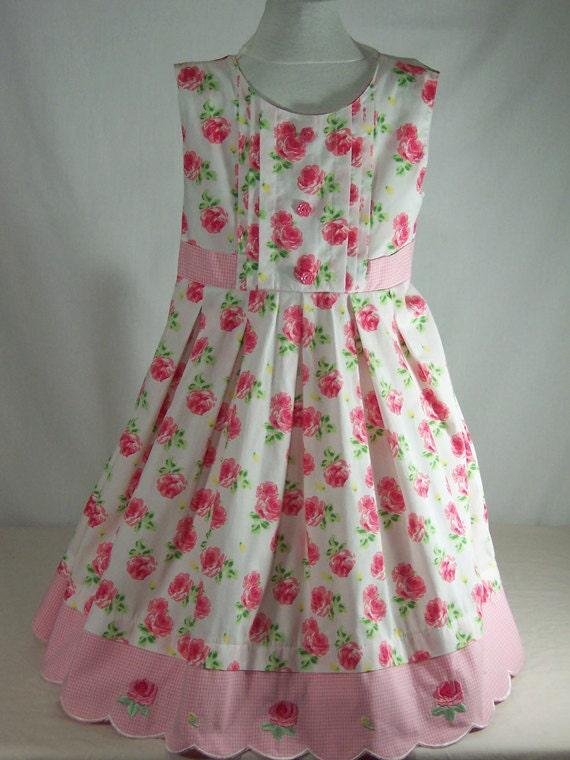 Pink Child's Apron with Pink Gingham Sash - Art Smock - Upcycled