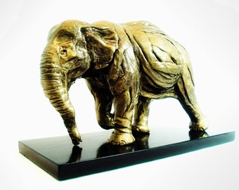 Elephant Sculpture In Motion, Original, Abstract, Gold, Unique, One Of A Kind