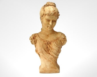 "Shabby Chic Bust,17""  Figurine, Sculpture, Victorian Style and Rustic Antique Coloured 17"" tall x 10"" wide"