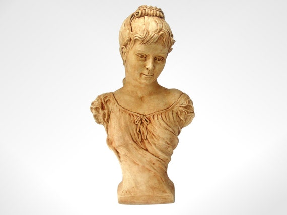 """Shabby Chic Bust,17""""  Figurine, Sculpture, Victorian Style and Rustic Antique Coloured 17"""" tall x 10"""" wide"""