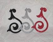 4) Large Glitter Flourish Embellishments, Die Cuts - Choose Your Color