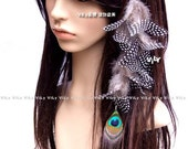VILY Tribe Long Peacock Feather Polka Dots Hair Extensions Clip