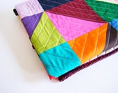 Geometric Quilt - lap quilt, baby quilt, toddler blanket, patchwork throw, triangles, solids