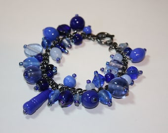 Glass Cluster Bracelet, Blue