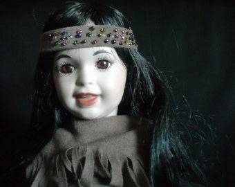 Porcelain Collectible Doll Native Girl with Long Hair