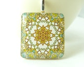 Wood pendant for necklace, Moroccan pendant - yellow and green.