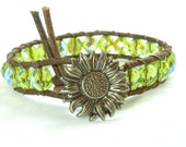 Beaded leather wrap bracelet, lime green AB beads, distressed leather, sunflower closure, single wrap bracelet, wear alone or with others.