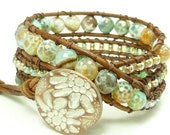 Beaded leather wrap bracelet - triple 3 wrap bracelet - Chan luu style - Gorgeous mint green and caramel brown fire agate.