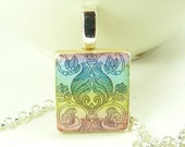 Scrabble tile pendant necklace - multicolored- Urn design - 24 in silver plated necklace.