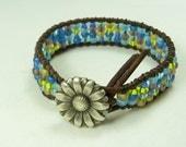 "Beaded leather wrap bracelet - ""Prairie bracelet"" - multicolor seed bead bracelet - Confetti Bracelet"