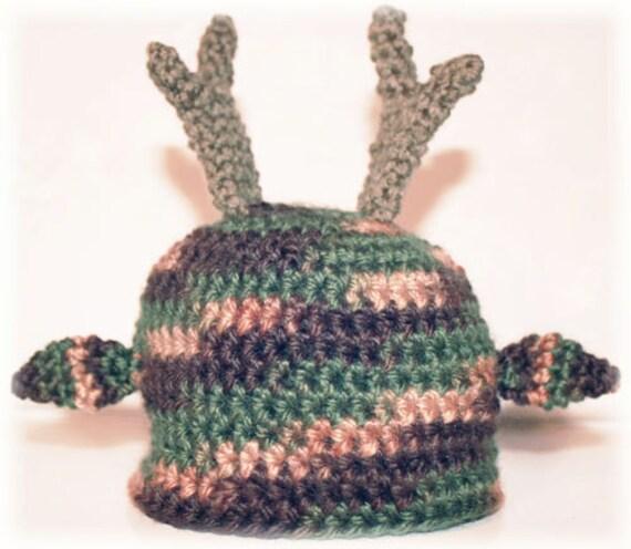 Deer Beanie - Newborn Size - Photo Prop PDF Crochet Pattern