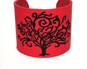 Red cuff bracelet. Tree.  Branches.