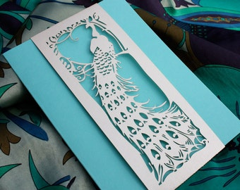 "Laser cut belly band - ""Art Deco Peacock"""