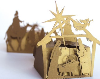 Laser cut favor box - Nativity Scene