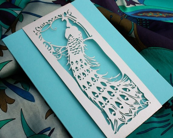 """Laser cut belly band - """"Art Deco Peacock"""""""