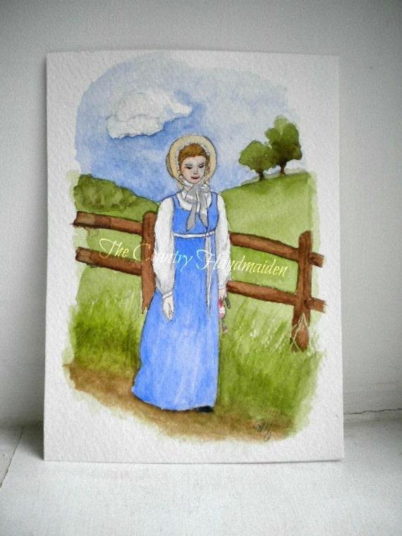 ORIGINAL Jane Austen Pride and Prejudice Regency Watercolor