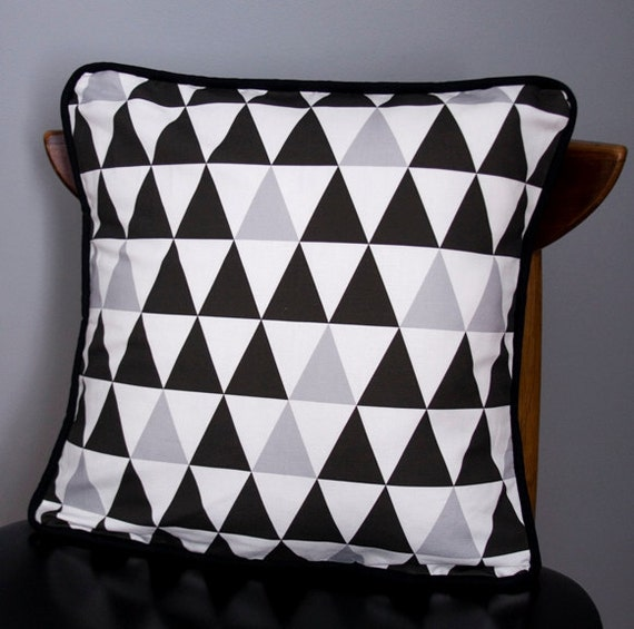 Items similar to Modern Pillow Cushion Cover Black, White, Grey Triangles - 18 x 18 on Etsy