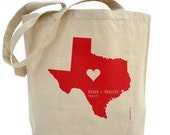 Personalized State with Heart, Names and Date - Custom 100% Cotton Canvas Tote Bag - FREE SHIPPING