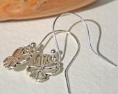 Silver Earrings Dangly Butterfly Earrings Simple Jewelry