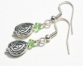 UK sellers only, Silver drop Earrings, Green and Silver Earrings, Shops in UK