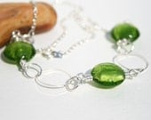 Shops in UK, Green Necklace, Silver Chain, Glass Bead Necklace, UK Shops, Ready to Ship