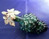 Vintage Green Retro Grape Cluster Bottle With Brass Grape Leaf Cork