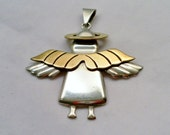 Vintage Mexico Sterling Silver Halo Angel.  Two tone Wings and Halo.  925 Signed