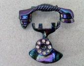 Vintage Iridescent Jewerly Enamel Purple Blue Green 2 Piece Set Telephone Pin Brooch