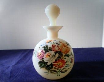 Vintage Czech Hand Painted Floral Opulescent Glass Perfume Bottle - Signed - VGC