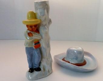 2 Vintage 1940's Japan Lustreware Pottery.  Figural Porcelain Bud Vase And Cowboy Hat Ashtray