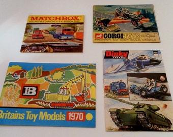 Four Different Vintage 1969-71 British Diecast Toy Catalogs:  Dinky, Corgi, Matchbox Lesney and Britians