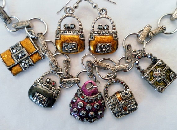 Reserved for Shirley.  Vintage Marcasite and Enamel Purse Handbags Pendant Signed Necklace and Earring Set.