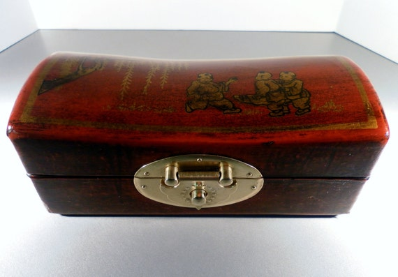 Antique Chinese Lacquer Rosewood Painted Wood Box
